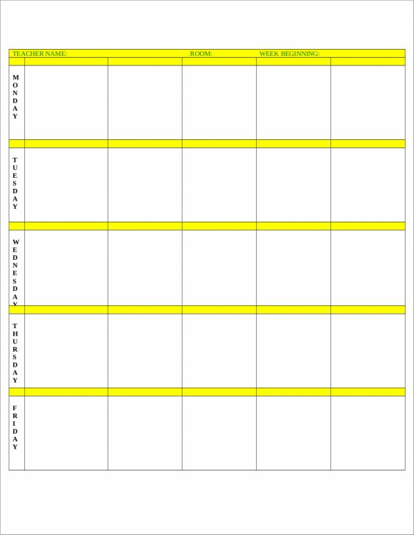 simple blank lesson schedule template