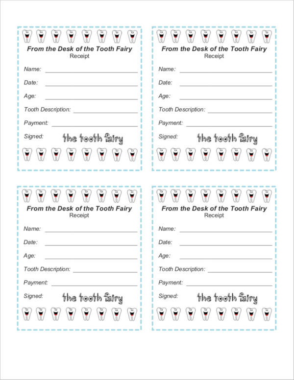 photograph regarding Free Printable Tooth Fairy Receipt named Absolutely free 9+ Enamel Fairy Receipt Samples Templates PDF