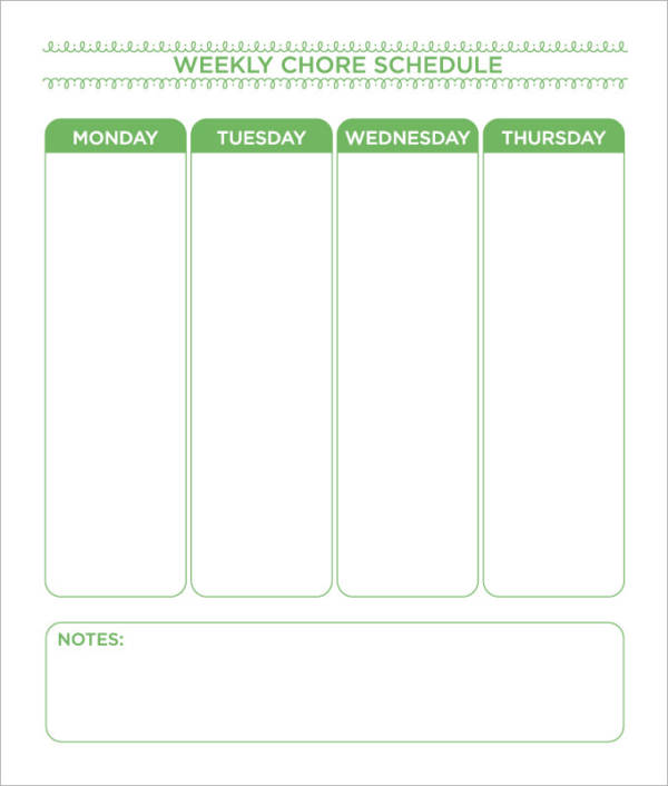 simple weekly chore schedule template