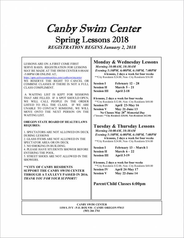 spring swimming lesson schedule sample
