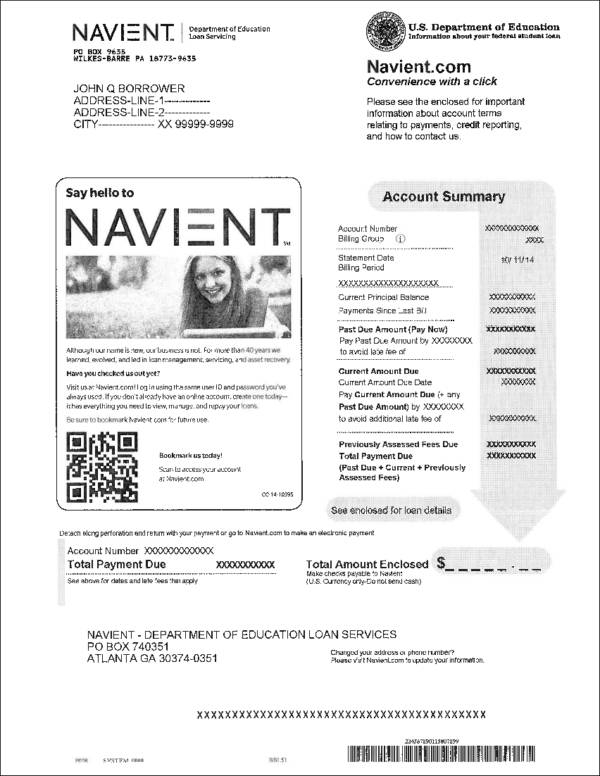 student loan monthly billing statement sample