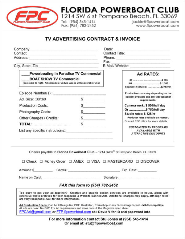 advertising invoice template