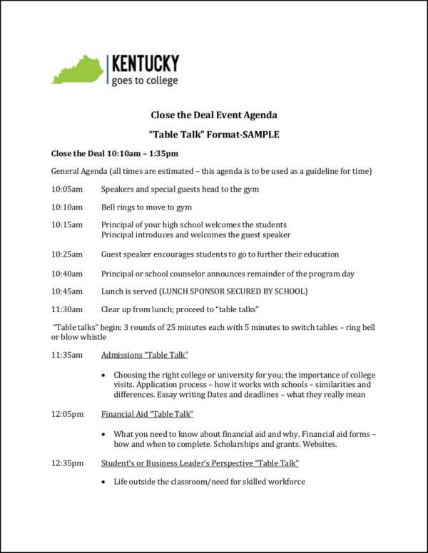 table talk event agenda sample format