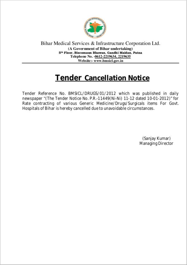 tender cancellation notice