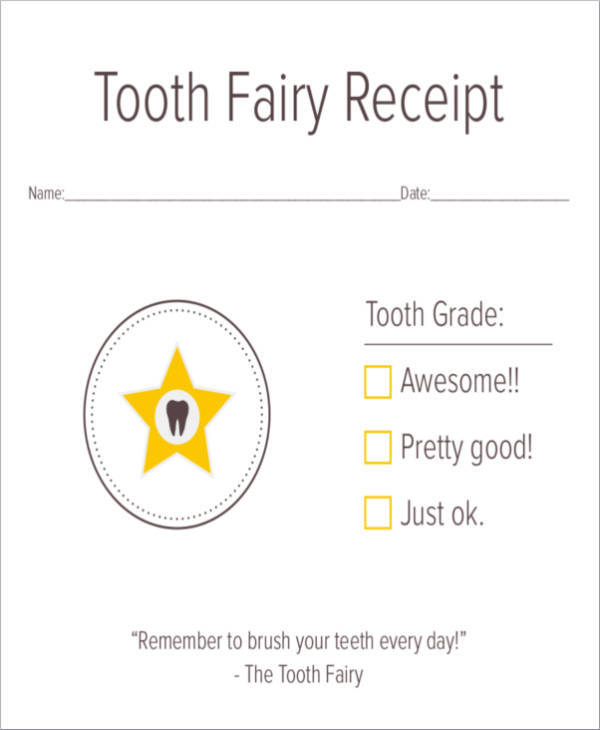 tooth fairy receipt sample printout