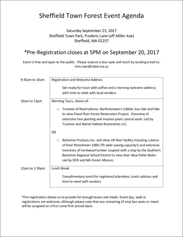 town forest event agenda sample