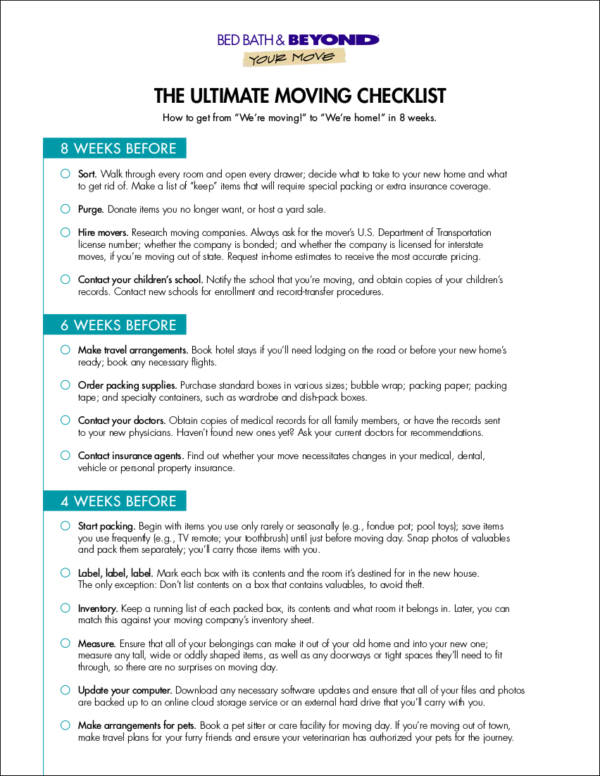 ultimate home moving checklist template