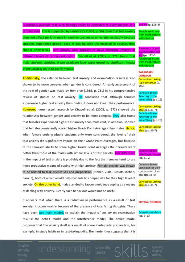 university essay sample