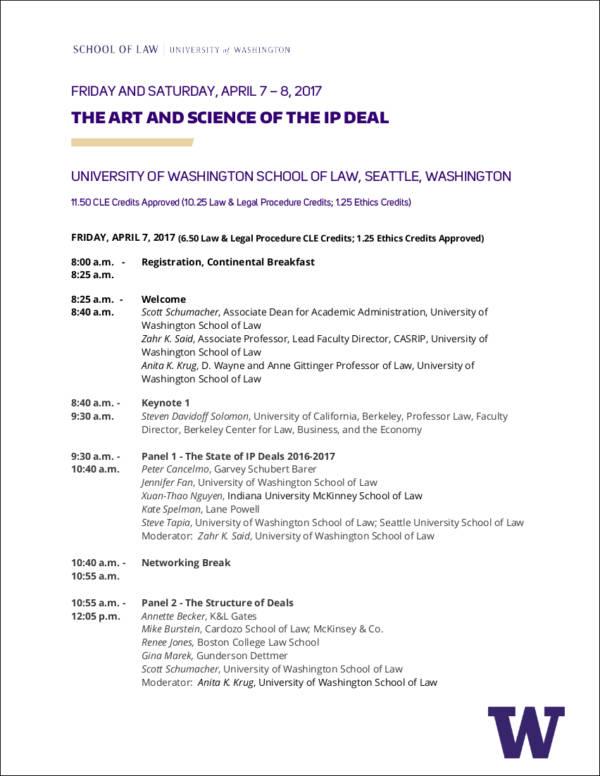 university event agenda sample