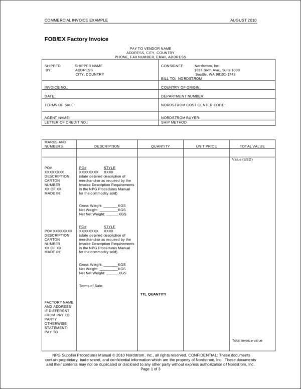 vendor commercial invoice template