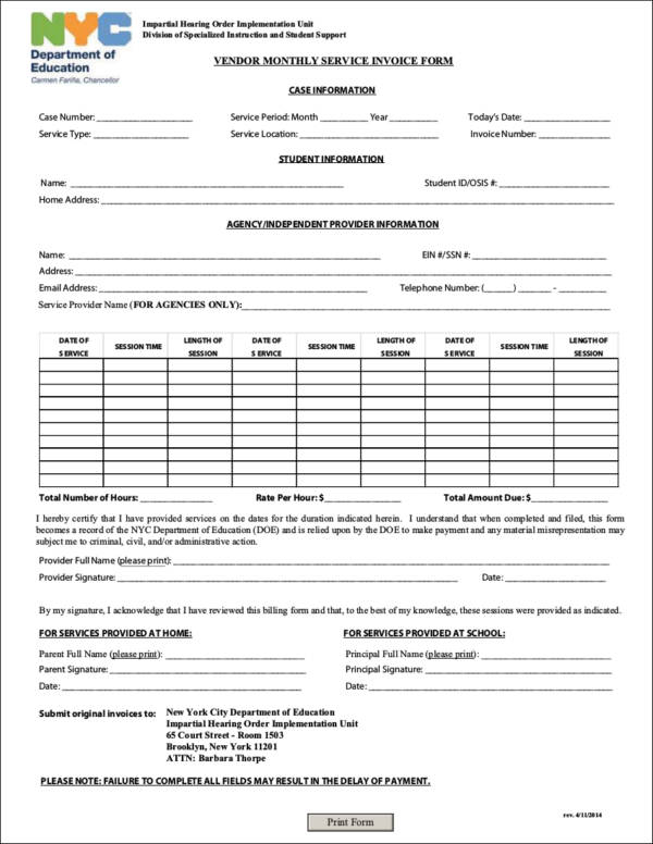 vendor monthly service invoice form