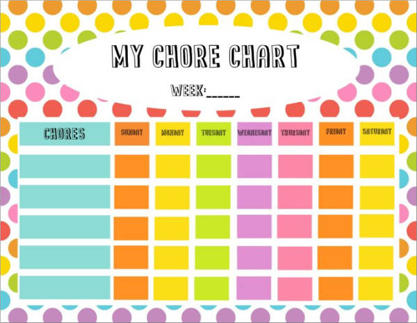 weekly chore scheule template for kids
