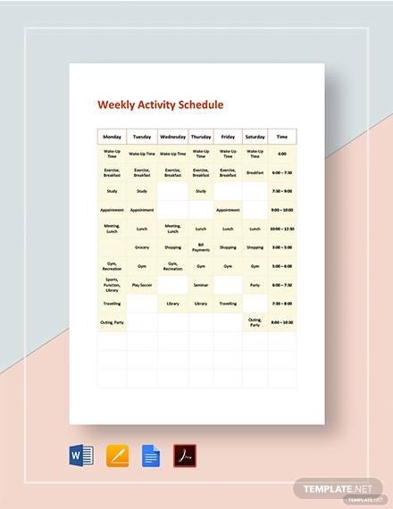 weekly activity schedule template