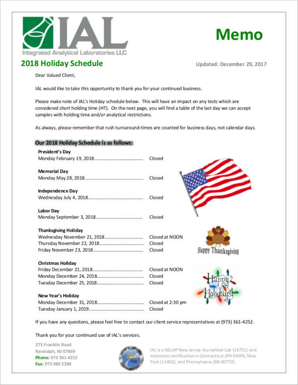 2018 holiday schedule sample for clients