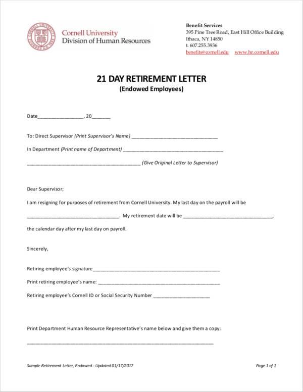 21 day retirement letter