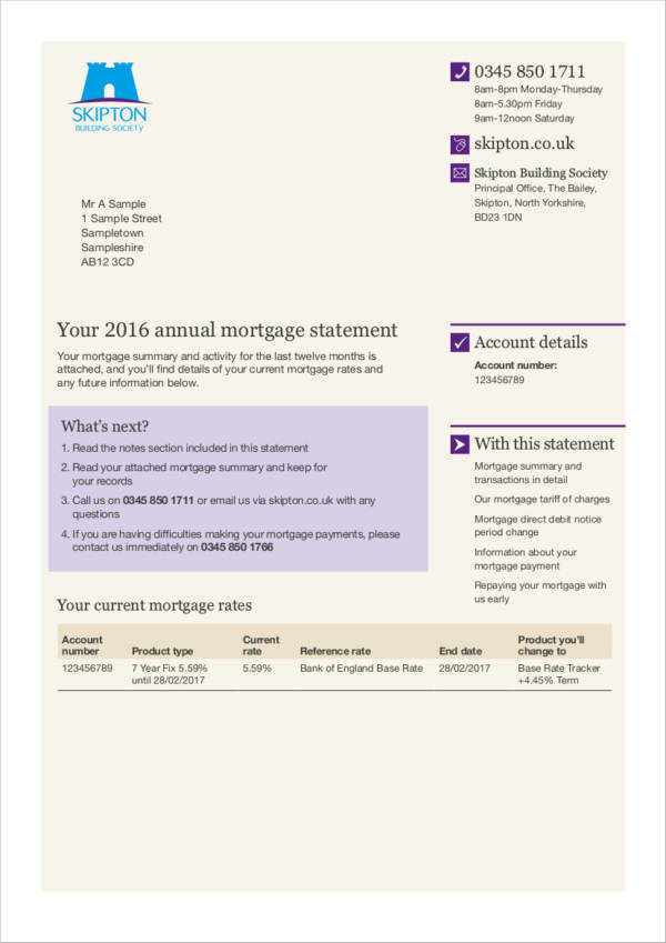annual mortgage statement sample and guide