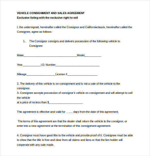 auto dealer consignment agreement contract template