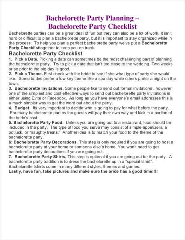 bachelorette party planner sample