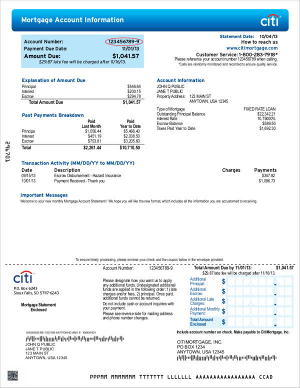 bank mortgage statement sample