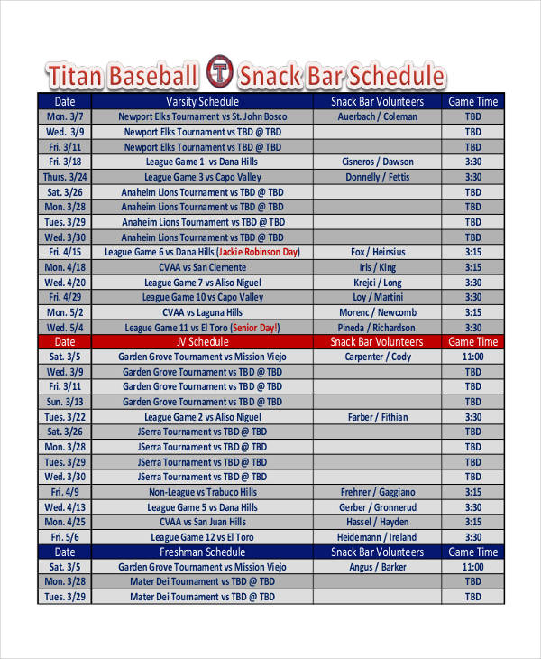 baseball schedule template free 11 snack schedule samples templates pdf sample