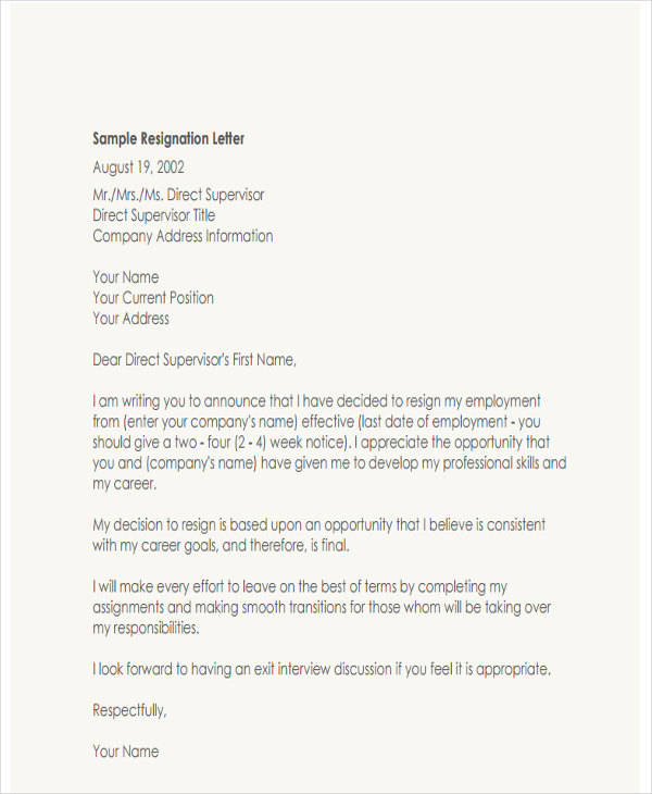 6  resignation letter with regret samples and templates