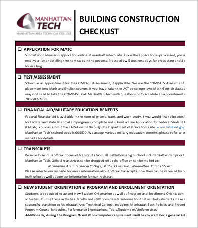 building construction checklist sample