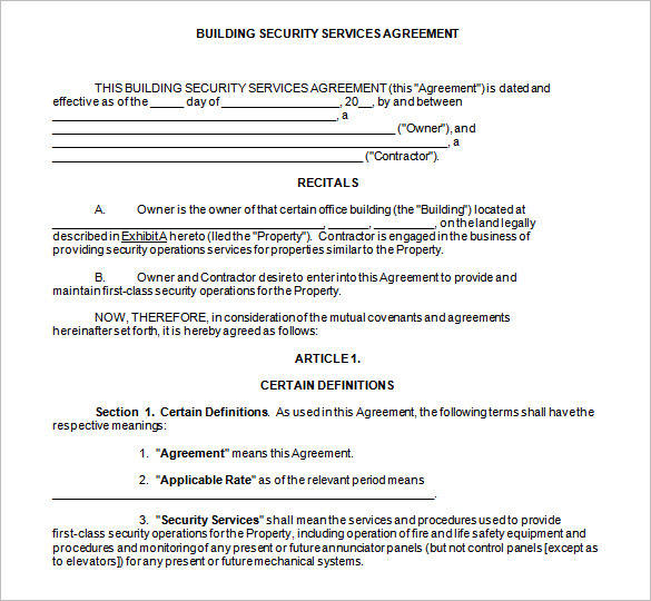 house building contract template - 9 security contract samples and templates pdf word