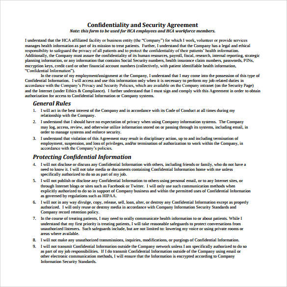 confidentiality and security agreement contract sample