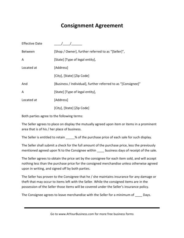 consignment agreement contract in pdf