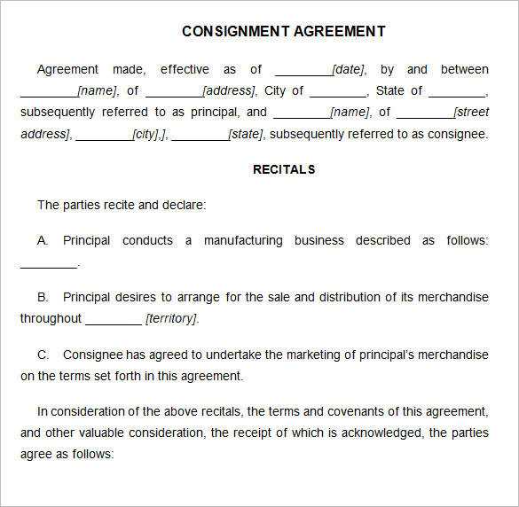 15 consignment agreement samples and templates pdf for Consignment shop contract template