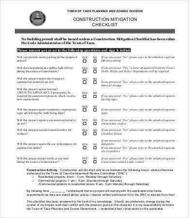 construction mitigation checklist sample
