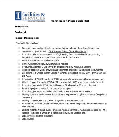 construction project checklist sample