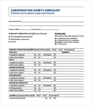 construction safety checklist sample