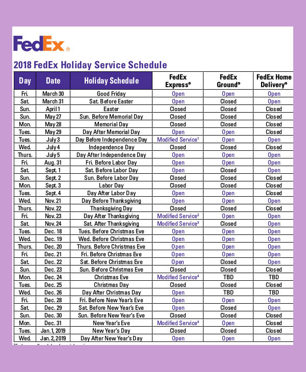 courier holiday schedule sample