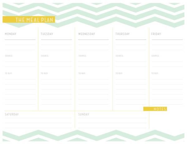 detailed dinner planner template