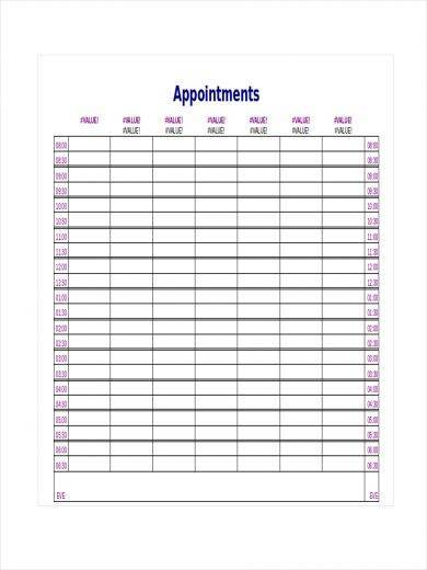 doctor appointment schedule template