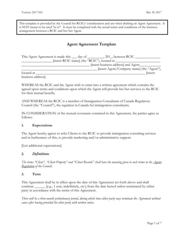 editable agent agreement template for business