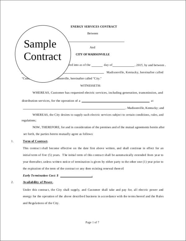 electric service contract template