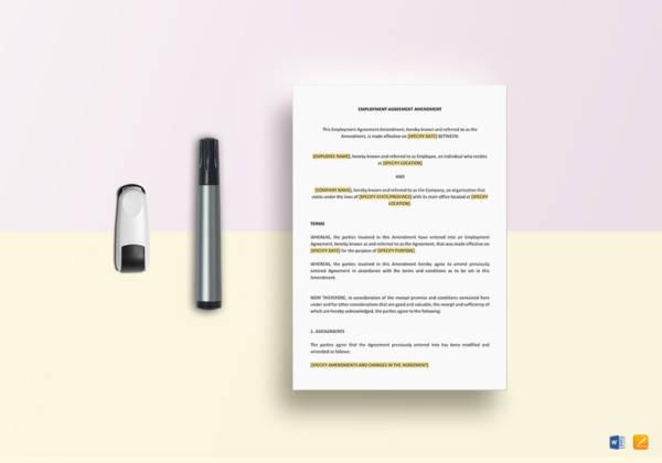 employment agreement amendment template