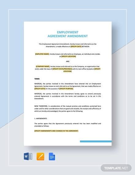 employment agreement amendment