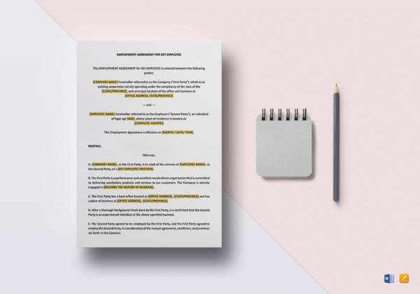 employment agreement key employee template