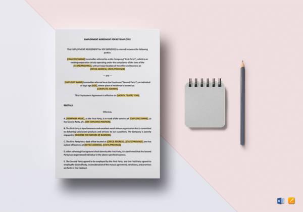 employment agreement key employee template1