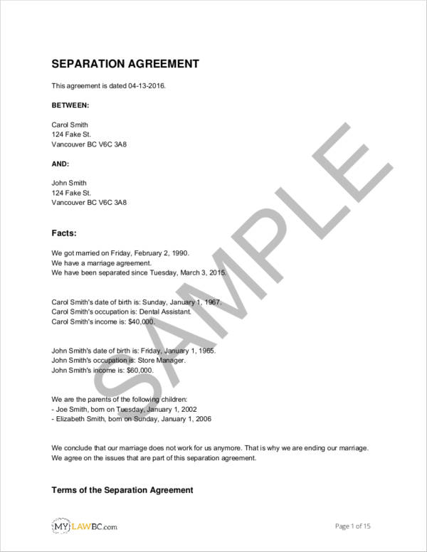 Free 11 Separation Agreement Templates In Pdf Word