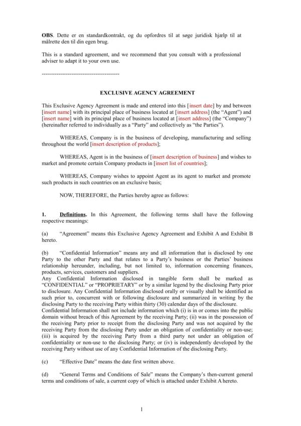 exclusive agent agreement contract template