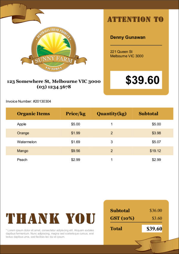farm invoice sample