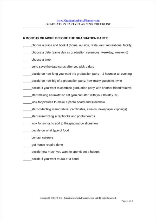 graduation party planner sample