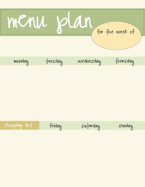 green weekly dinner planner template