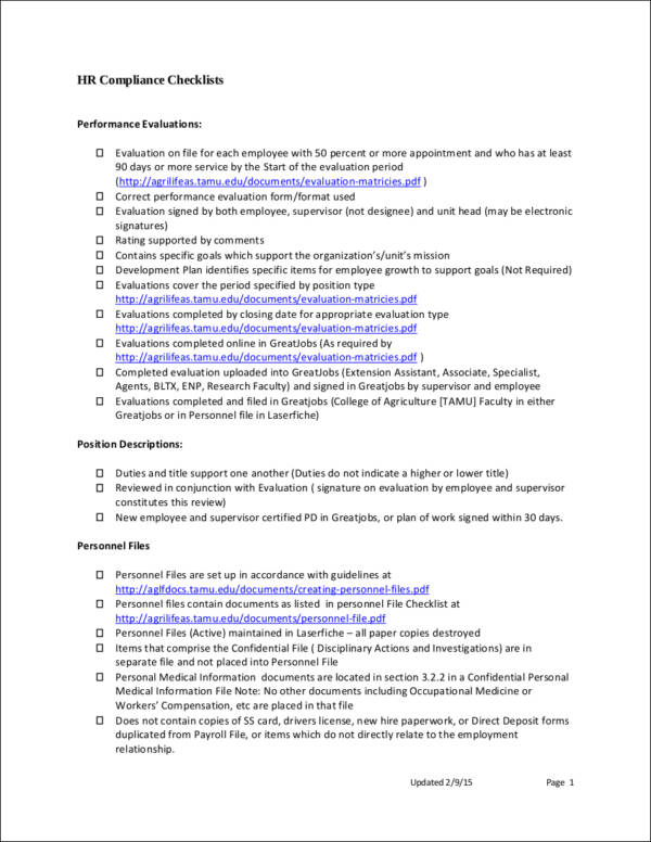 hr compliance checklist sample