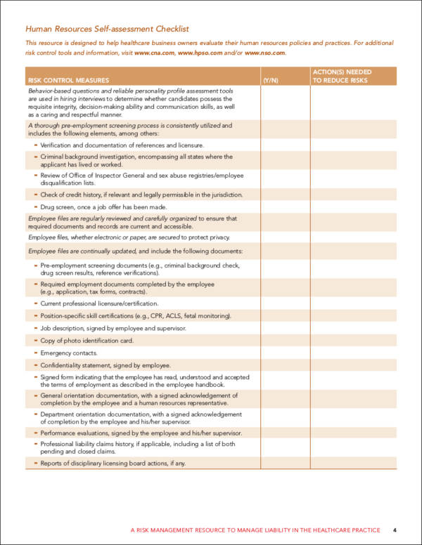 hr selfassessment checklist sample