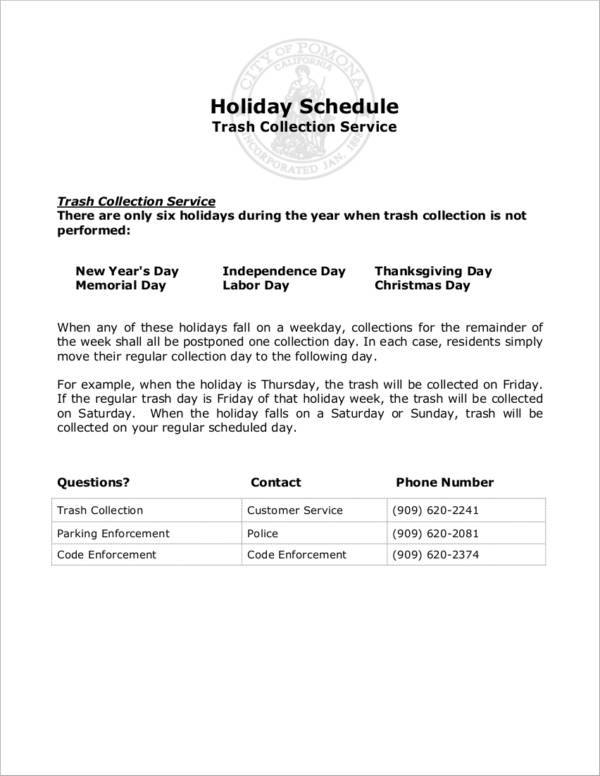 holiday schedule sample for trash collection